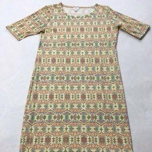 Lularoe Cream Pastel Geo Floral Stripe Julia Dress